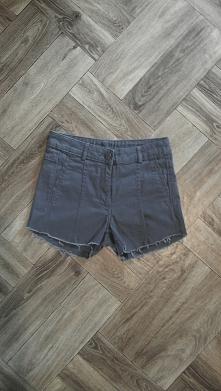 Ciemnoszare szorty z wysokim stanem i lekko postrzępionymi nogawkami z H&M.