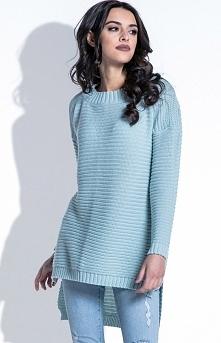 Fobya F402 sweter pistacjowy Komfortowa tunika damska, luźny fason, wykonany ...