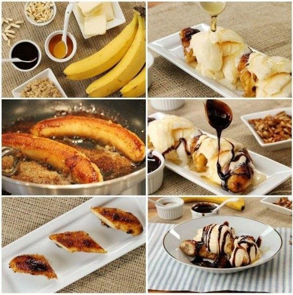 smażone banany SKŁADNIKI: 5 dag masła, 4 banany, 1 pomarańcza, ½ limonki, 1 łyżka cukru (najlepiej brązowego), 3 łyżki ciemnego rumu, bita śmietana i/lub lody waniliowe. JAK PRZYRZĄDZIĆ? Na dużej patelni podgrzewamy masło. Wkładamy obrane banany i smażymy je przez około 2 minuty. Wyciskamy sok z cytrusów i wlewamy go do bananów. Dodajemy cukier. Dusimy jeszcze 2 minuty, dolewamy rum i odstawiamy.  Podajemy z lodami i/lub bitą śmietaną.