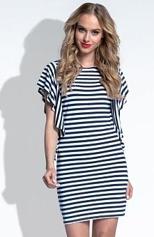 FIMFI I181 sukienka granatowa Komfortowa sukienka, wykonana z miękkiej wiskozowej dzianiny, marynistyczny styl