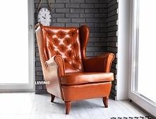 Fotel do gabinetu w eko skórze antycznej + pikowanie chesterfield