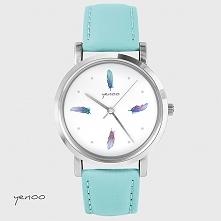 Zegarek - Turkusowe piórka - turkusowy, skórzany