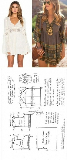 Sukienka/tunika boho + wykrój