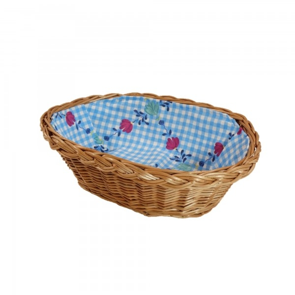"""Wiklinowy koszyk """"BREAD"""" wyściełany materiałem (kratka z kwiatami)"""
