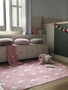 Dywan do prania w pralce dla dziewczynki LORENA CANALS Topos Rosa/Pink