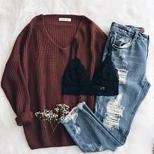 Stylizacja z koronkowym topem i brązowym swetrem - LINK W KOM
