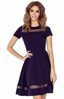 Morimia 003-2 sukienka granatowa Elegancka sukienka, wykonana z jednolitej dz...