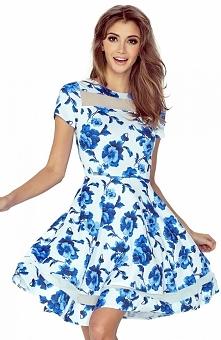 Morimia 003-3 sukienka biała w niebieskie kwiaty Zjawiskowa sukienka, wykonan...