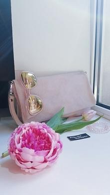 skórzana kopertówka pudrowy róż Fb/ Atelier Torebek wysyłka 24h