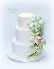 Tort komunijny Kwiaty wykonałam sama z cukru