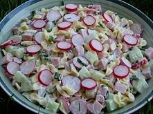Wiosenna sałatka z rzodkiewką, ogórkiem i szczypiorkiem składniki: 250 g dro...