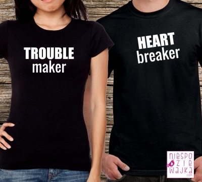 Komplet 2szt koszulek Trouble maker Heart breaker :) Zestaw dla par z humorem koszulki czarne - 56zł koszulki białe - 50zł