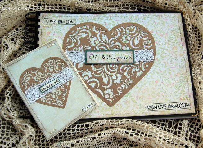 ręcznie robiony zestaw ślubny - album + kartka