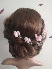 kwiat we włosy magnolia z kryształkami