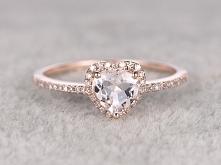6mm Heart Shaped Morganite Engagement Ring Diamond Wedding Ring 14k Rose Gold...