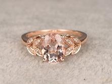 6x8mm Oval Morganite Engagement Ring Diamond Wedding Ring 14k Rose Gold Floral Leaf