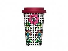 Kubek termiczny z kwiatkiem idealny na kawę na wynos, do samochodu, by zabrać...