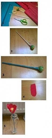 Krok po kroku jak zrobić kwiatka z lizaka :) Krok 1. Potrzebne będą dwie kolorowe bibuły - zielona (na łodygę) i czerwona na płatki (można użyć też innego koloru); okrągły lizak...