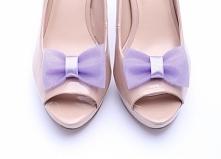 Klipsy do butów ślubnych i nie tylko - fioletowe kokardki z tiulu!  Do kupienia w sklepie internetowym Madame Allure.
