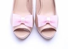 Tiulowe, delikatne klipsy do butów ślubnych - różowe kokardki.  Ozdoby do but...