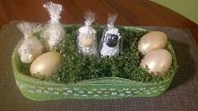 Wielkanocna dekoracja baranki. Rzeżucha.