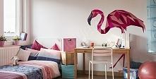Różowy flaming w zgeometryzowanej formie może znaleźć się na przykład na ścianie w pokoju dziecięcym.