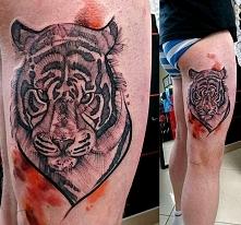 tygrys tatuaż na udzie dla ...
