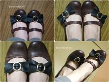 skórzane kokardki na buty Diy