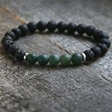męska bransoletka :: green agate & black LAVA