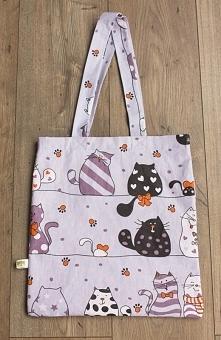 Dwustronna torba bawełniana w koty i kropki. fb MisioZdzisioSklep.