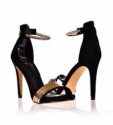 Sandały na wesele.Sklep z obuwiem styloweobcasy.pl poleca czarno złote sandały na obcasie