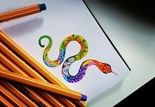Wąż- kolorowy projekt tattoo. Zapraszam!