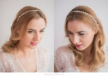 Opaska ślubna z perełkami -...