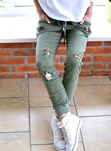 Spodnie LOUISE naszywki khaki. Ottanta - sklep online