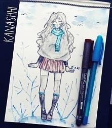 zimowy rysunek, bo mam już dość słonecznej pogody;; nie wiem jak ja przeżyję ...