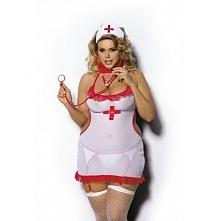 Strój pielęgniarki w dużych rozmiarach Anais Shane. Idealny pomysł na wieczór panieński tabela rozmiarów dostępna na sklep.salonmodyxxl.pl