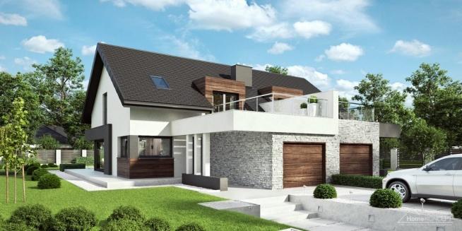 Nowoczesny projekt domu w zabudowie bliźniaczej HomeKONCEPT-47B