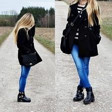 mydecoyy.blogspot.com   stylizacja czarny płaszcz botki torebka jeansy outfit...