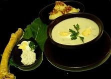Zupa chrzanowa   4 białe kiełbaski 4 jajka ugotowane na twardo 10-15 dag dowo...