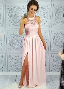 Długa suknia pudrowy róż Illuminate
