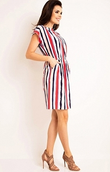 Awama A166 sukienka paski Piękna sukienka, wzór w kolorowe paski, dekolt typu łódka