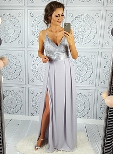 Szaro-srebrna suknia Illumi...