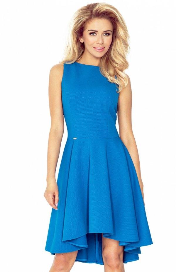 SAF 66-14 sukienka kobaltowa Zjawiskowa sukienka, wykonana z grubszego materiału typu lacosta, góra dopasowana