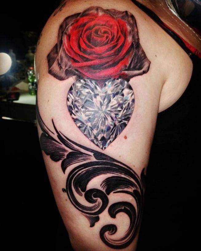 Róża I Diament W Kształcie Serca Na Ciekawe Tatuaże Zszywkapl