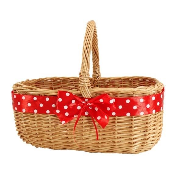 """""""MARYŚKA"""" - Wiklinowy koszyk zdobiony czerwoną wstążką w białe grochy"""