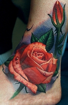 rose tattoo on foot