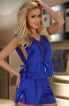Beauty Night Mellissa blue komplet Elegancki komplet bielizny, wykonany z miękkiej satyny w głębokim odcieniu szafiru, top wiązany po bokach na wysokości talii