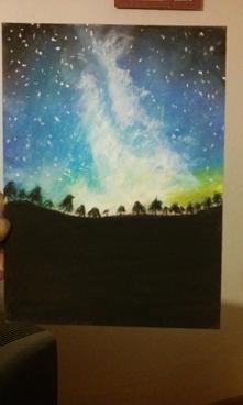 Noc. Pastelami suchymi. Uczę się właśnie korzystać z pasteli suchych.
