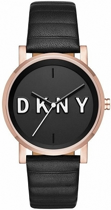 DKNY NY2633 kobiecy zegarek ze stali w kolorze złotym na skórzanym, czarnym p...