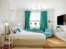 jasna sypialnia turkusowe z...